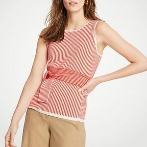 Ann Taylor | Striped Sleeveless Tie Waist Top